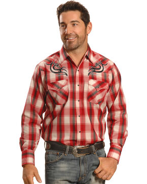 Ely Cattleman Men's Rust Plaid Embroidered Western Shirt, Russet, hi-res