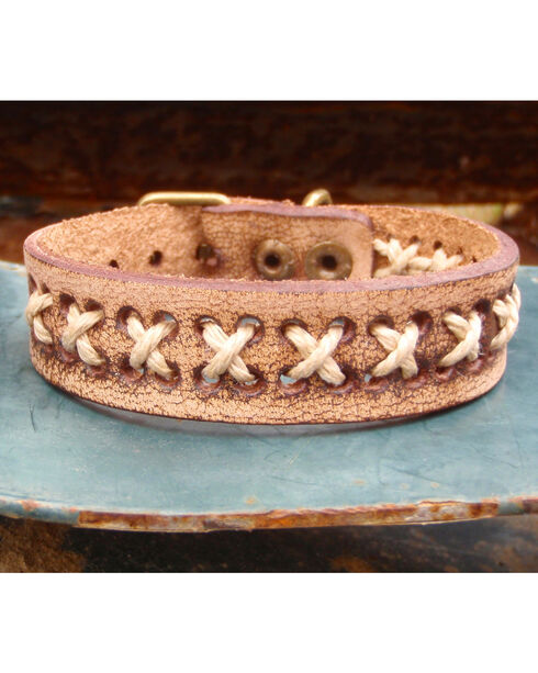 Jewelry Junkie Vintage Laced Leather Bracelet, Brown, hi-res