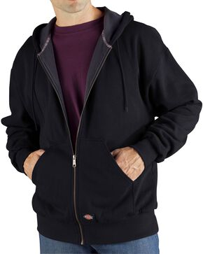 Dickie's Men's Thermal Lined Fleece Hoodie, Black, hi-res
