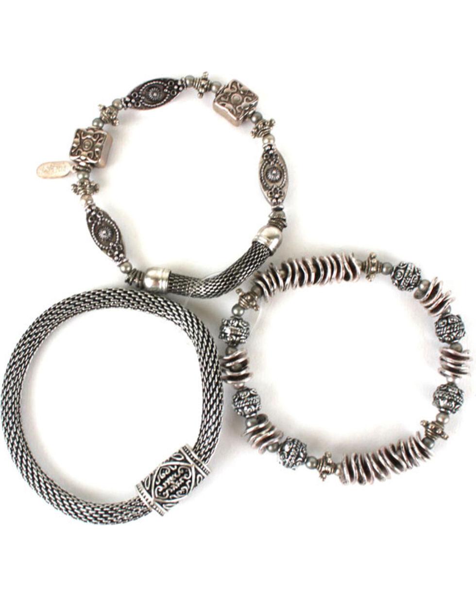 Treska 3 Strand Silver Bracelets , Silver, hi-res