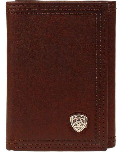 Ariat Logo Concho Tri-fold Wallet, Copper, hi-res
