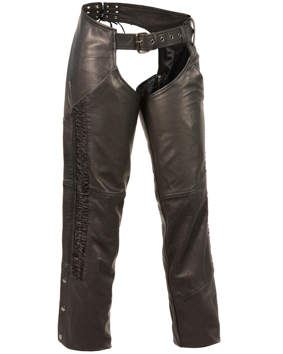 Milwaukee Leather Women's Crinkled Leg Striping Chaps - 3X, , hi-res