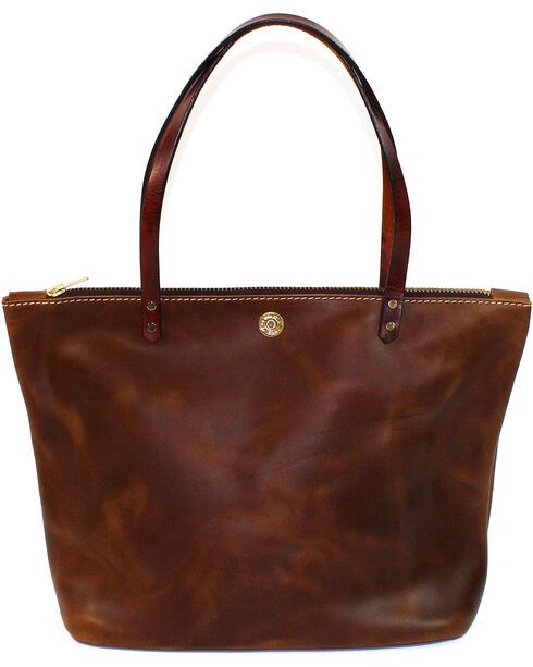 SouthLife Supply Women's Aged Bourbon Zippered Square Tote, Brown, hi-res