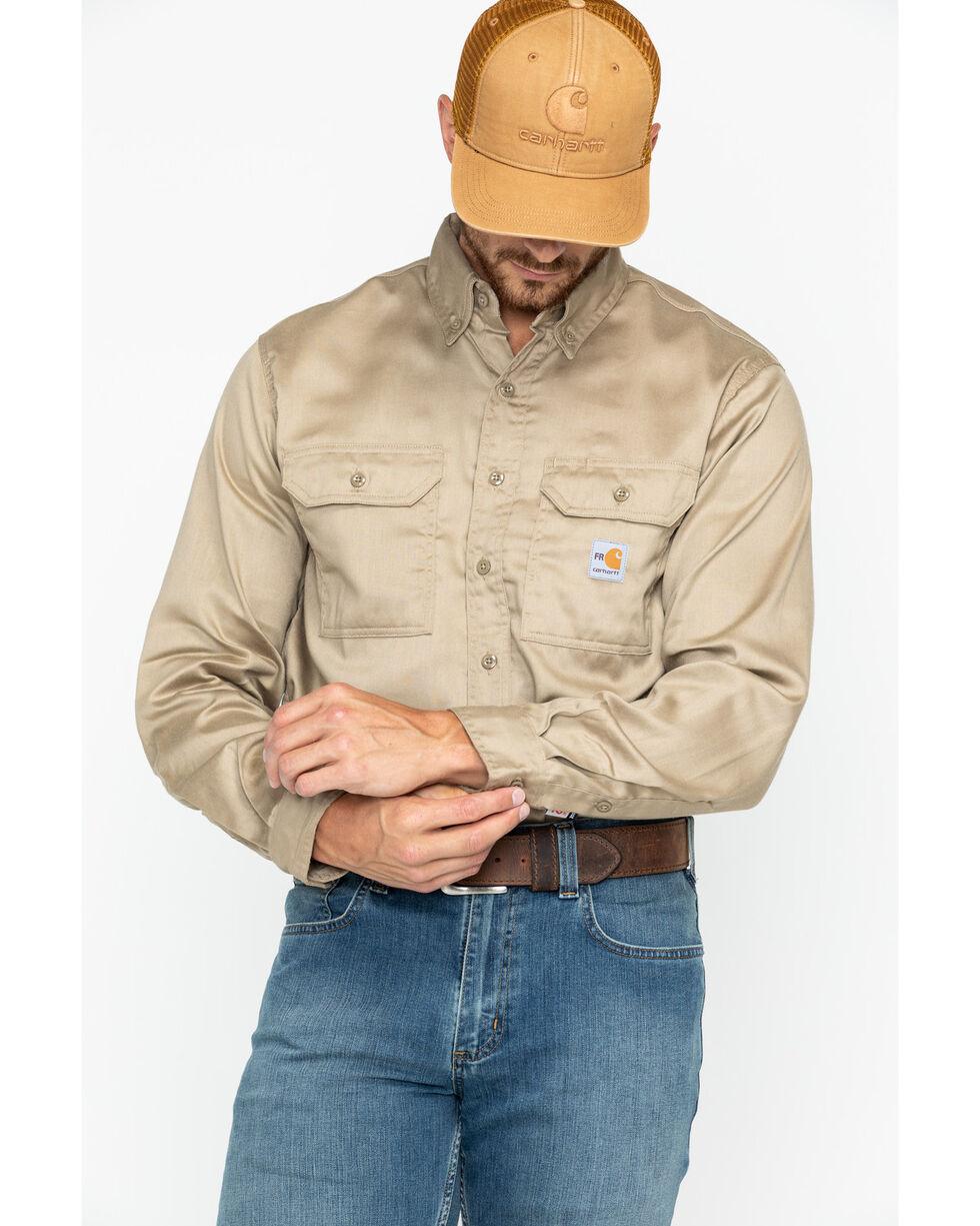 Carhartt Flame Resistant Work-Dry® Twill Long Sleeve Shirt, Khaki, hi-res