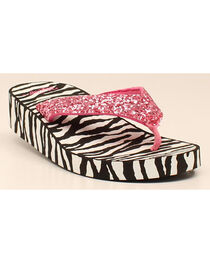 Blazin Roxx Girls' Zoe Zebra Flip Flops, , hi-res