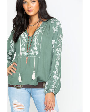 Miss Me Women's Ego Trip Peasant Top , Green, hi-res