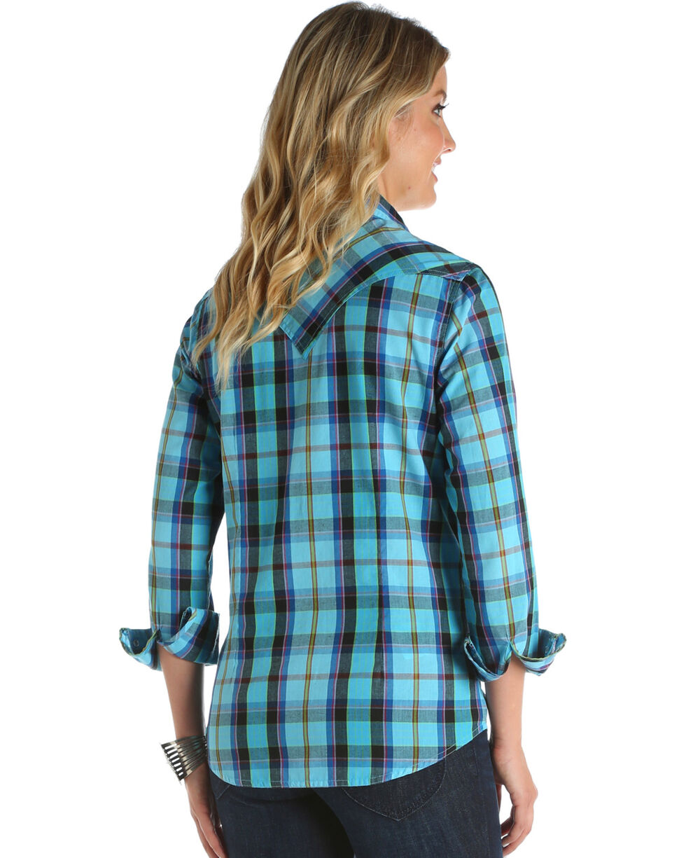 Wrangler Women's Turquoise Plaid Western Top , Turquoise, hi-res