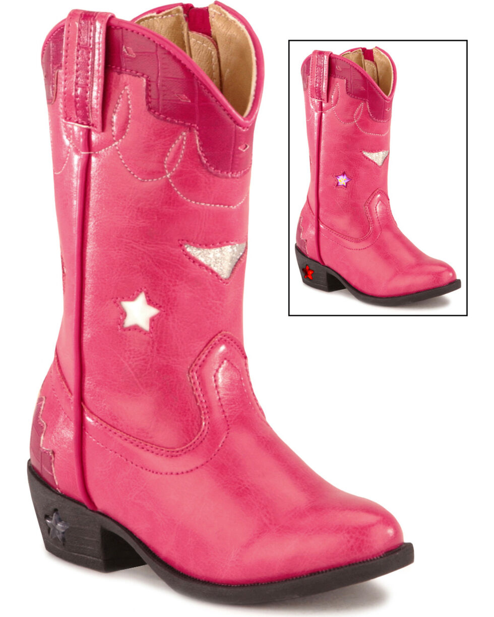 Smoky Mountain Girls' Stars Light Up Pink Boots, Hot Pink, hi-res