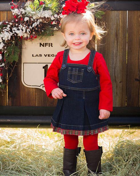 Wrangler Toddler Girls' Plaid and Denim Dress, Blue, hi-res