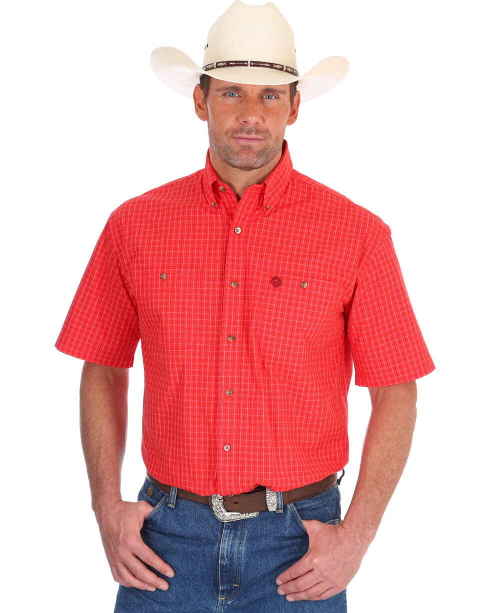 Wrangler Men's Red George Strait Window Pane Short Sleeve Shirt , Red, hi-res