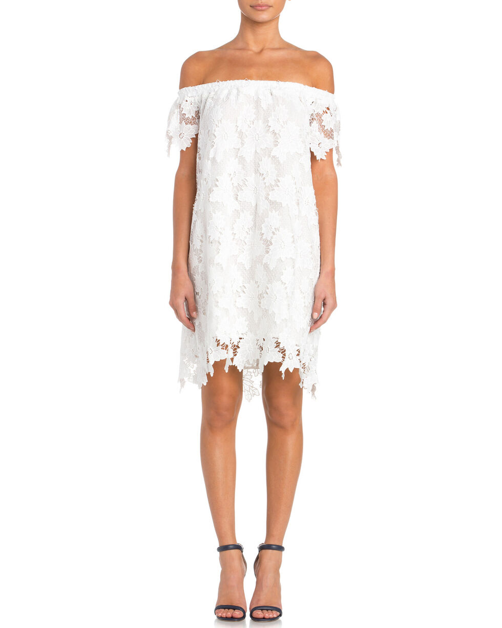 Miss Me Women's Off the Shoulder Navy Lace Dress, White, hi-res