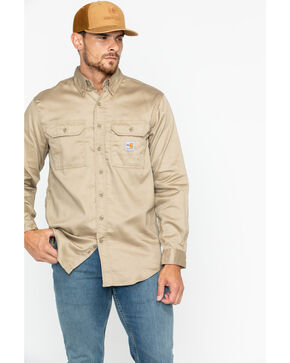 Carhartt Flame Resistant Work-Dry® Twill Long Sleeve Shirt, Khaki, hi-res