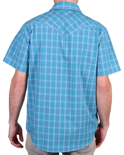 Cody James Men's Plaid Print Short Sleeve Shirt, Blue, hi-res