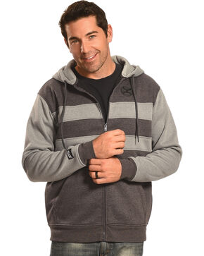 HOOey Men's Zip-Up Striped Hoodie, Grey, hi-res