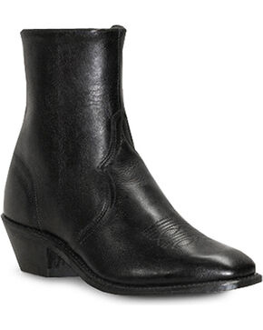 Abilene Men's Zipper Cowhide Western Boots - Narrow Square Toe , Black, hi-res