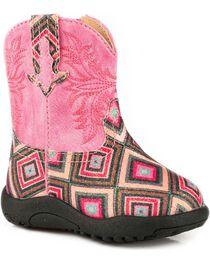 Roper Infant Girls' Glitter Diamond Pre-Walker Cowgirl Boots , , hi-res