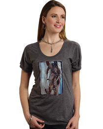 Roper Women's Stallion Screen Print Tee, Grey, hi-res