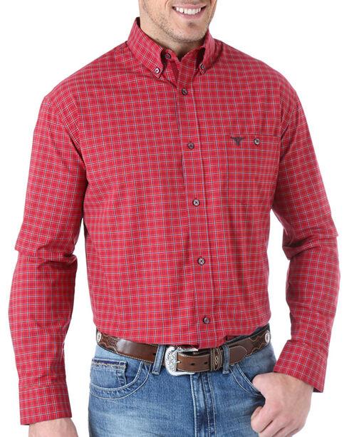 Wrangler 20X Check Patterned Long Sleeve Shirt, Burgundy, hi-res
