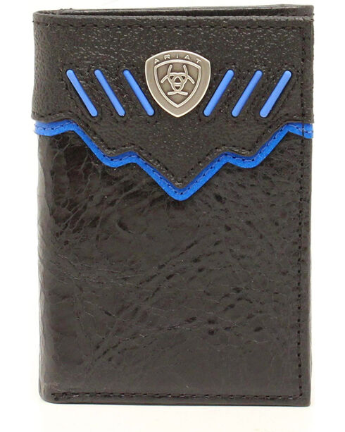 Ariat Black and Blue Trifold Shield Concho Wallet, Black, hi-res