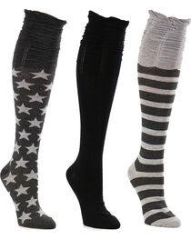 La De Da Women's Stars and Stripes Scrunch Knee High Sock Set, , hi-res