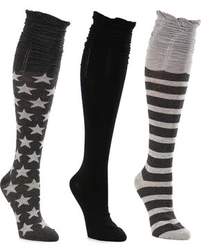 La De Da Women's Stars and Stripes Scrunch Knee High Sock Set, Charcoal, hi-res