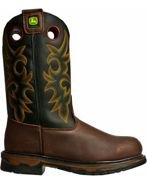"John Deere® Men's 11"" Steel Toe Western Work Boots, Tan, hi-res"