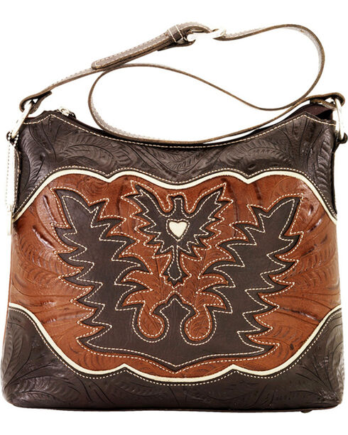 American West Women's Eagle Heart Shoulder Bag, Chocolate, hi-res