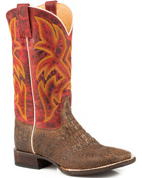 Roper Men's Tan Caiman Embossed Western Boots - Square Toe , Tan, hi-res