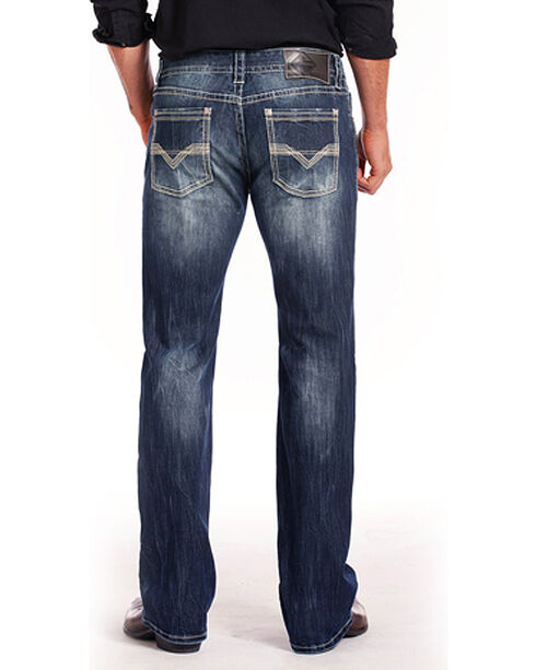 "Rock & Roll Cowboy Men's Indigo ReFlex Triple ""V"" Stitch Jeans - Straight Leg , Indigo, hi-res"
