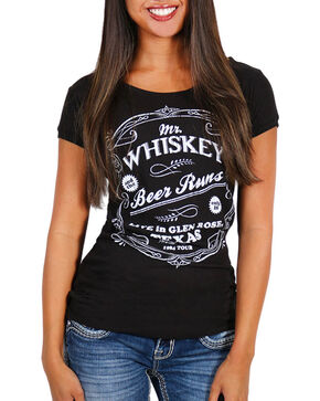 Cowgirl Up Women's Mr. Whiskey Short Sleeve Shirt, Black, hi-res