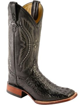 Ferrini Men's Caiman Crocodile Exotic Western Boots, Black, hi-res