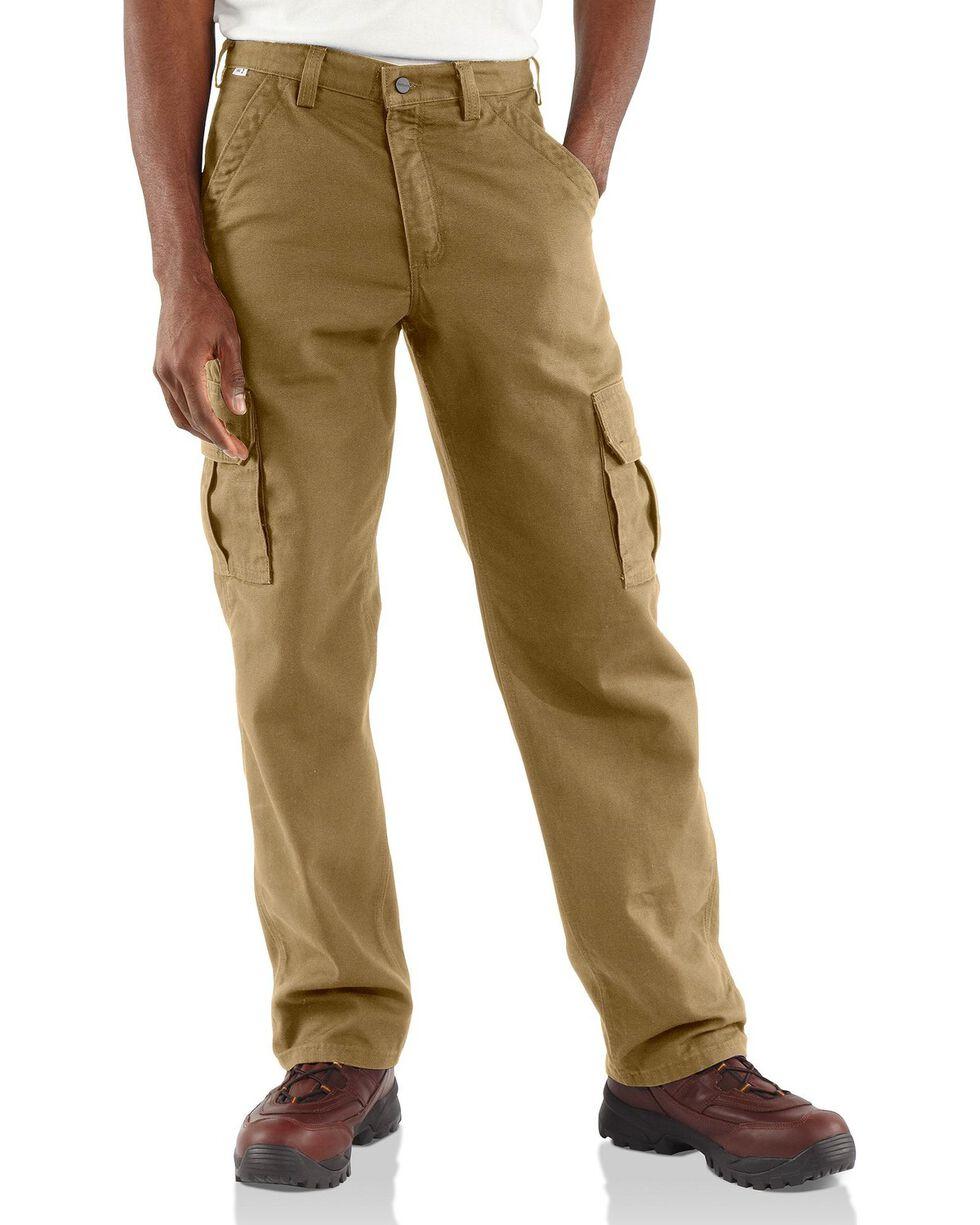 Carhartt Men's Flame-Resistant Canvas Cargo Pants, Khaki, hi-res