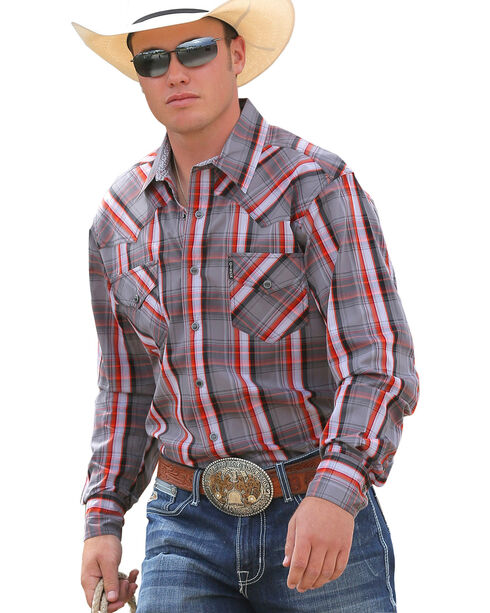 Cinch Men's Modern Fit Grey Plaid Long Sleeve Western Shirt, Grey, hi-res