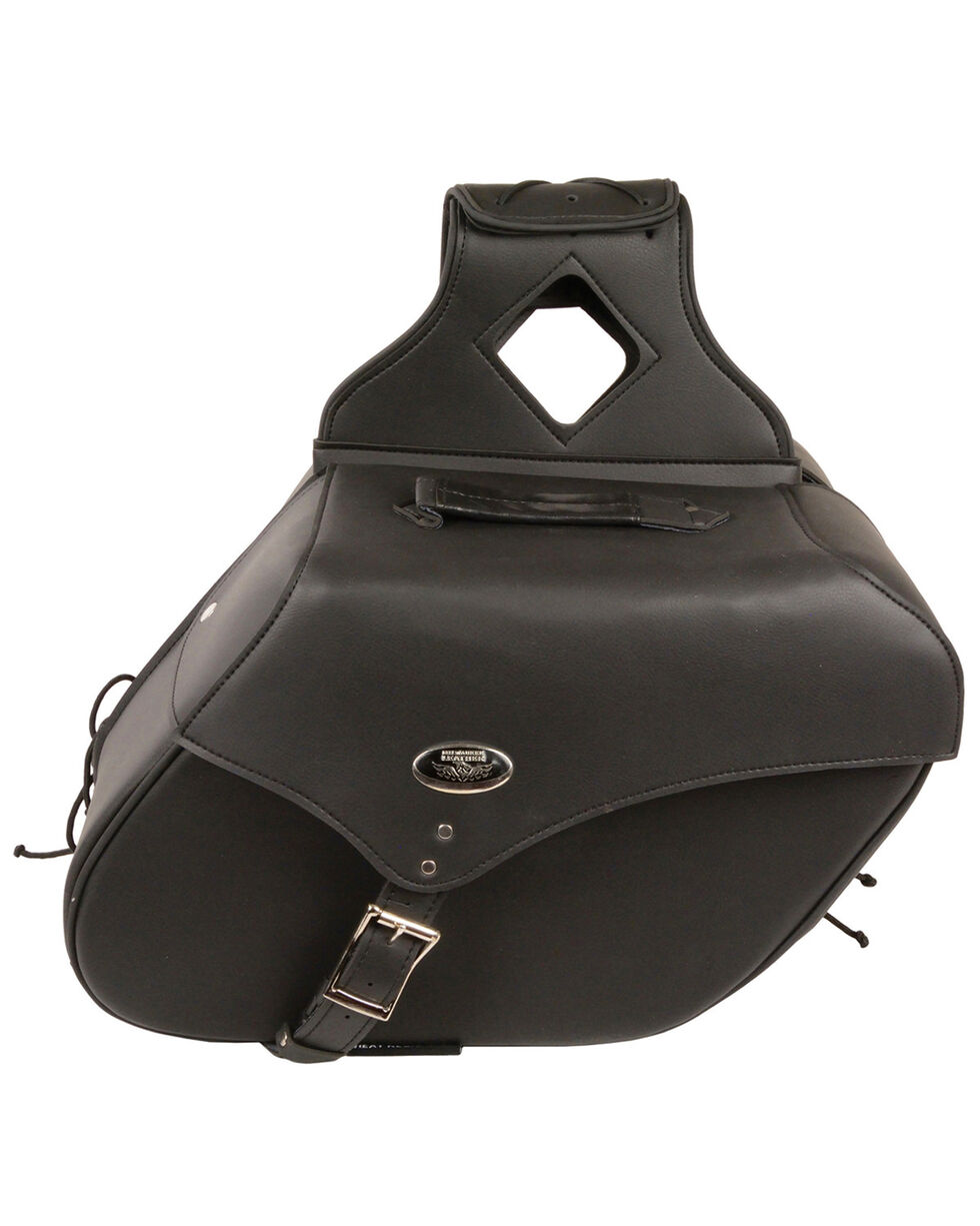 Milwaukee Leather Large Zip-Off Single Strap Throw Over Saddle Bag, Black, hi-res