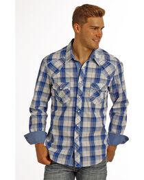 Rock & Roll Cowboy Men's Blue Long Sleeve Plaid Shirt , , hi-res
