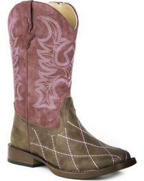 Roper Youth Girls' Cross Cut Western Boots - Square Toe , , hi-res