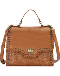 American West Women's Golden Tan Hidalgo Top Handle Convertible Flap Bag, , hi-res