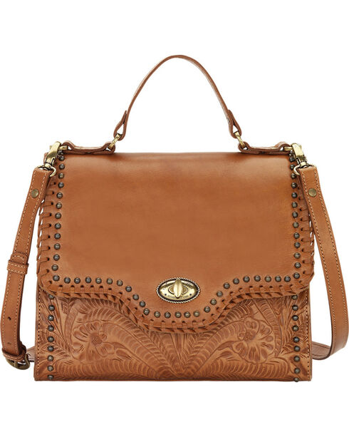 American West Women's Golden Tan Hidalgo Top Handle Convertible Flap Bag, Tan, hi-res
