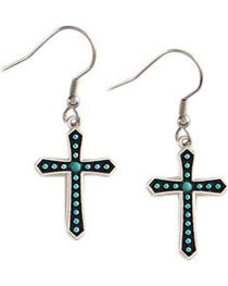 Montana Silversmiths Women's Turquoise Cross Dotted Earrings, , hi-res