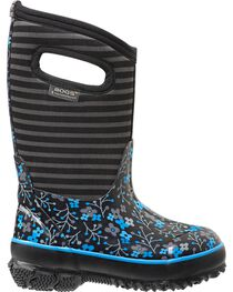 Bogs Kids' Classic High Black Flower Stripe Waterproof Boots, , hi-res