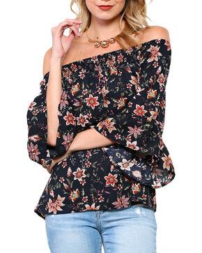Ces Femme Women's Sunflower Off The Shoulder Long Sleeve Shirt, Black, hi-res