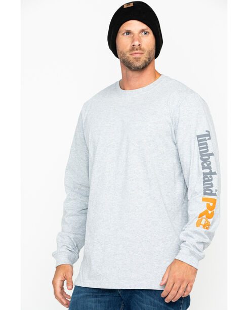 Timberland Men's Base Plate Long Sleeve Logo T-Shirt , Light Grey, hi-res