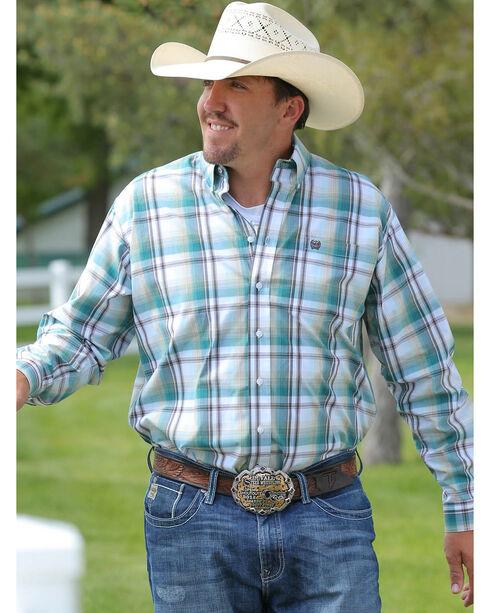 Cinch Men's Plaid Button Down Long Sleeve Shirt, White, hi-res