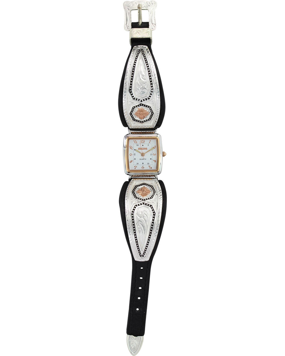 Montana Silversmiths Portrait of a Prairie Daisy Leather Watch , Silver, hi-res