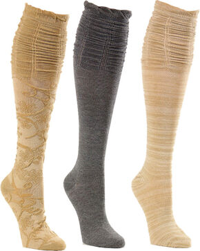 La De Da Women's Scrunch Knee High Sock Set, Taupe, hi-res