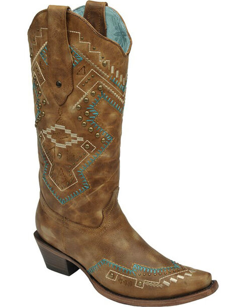 Corral Women's Studded Southwestern Western Boots, Tan, hi-res
