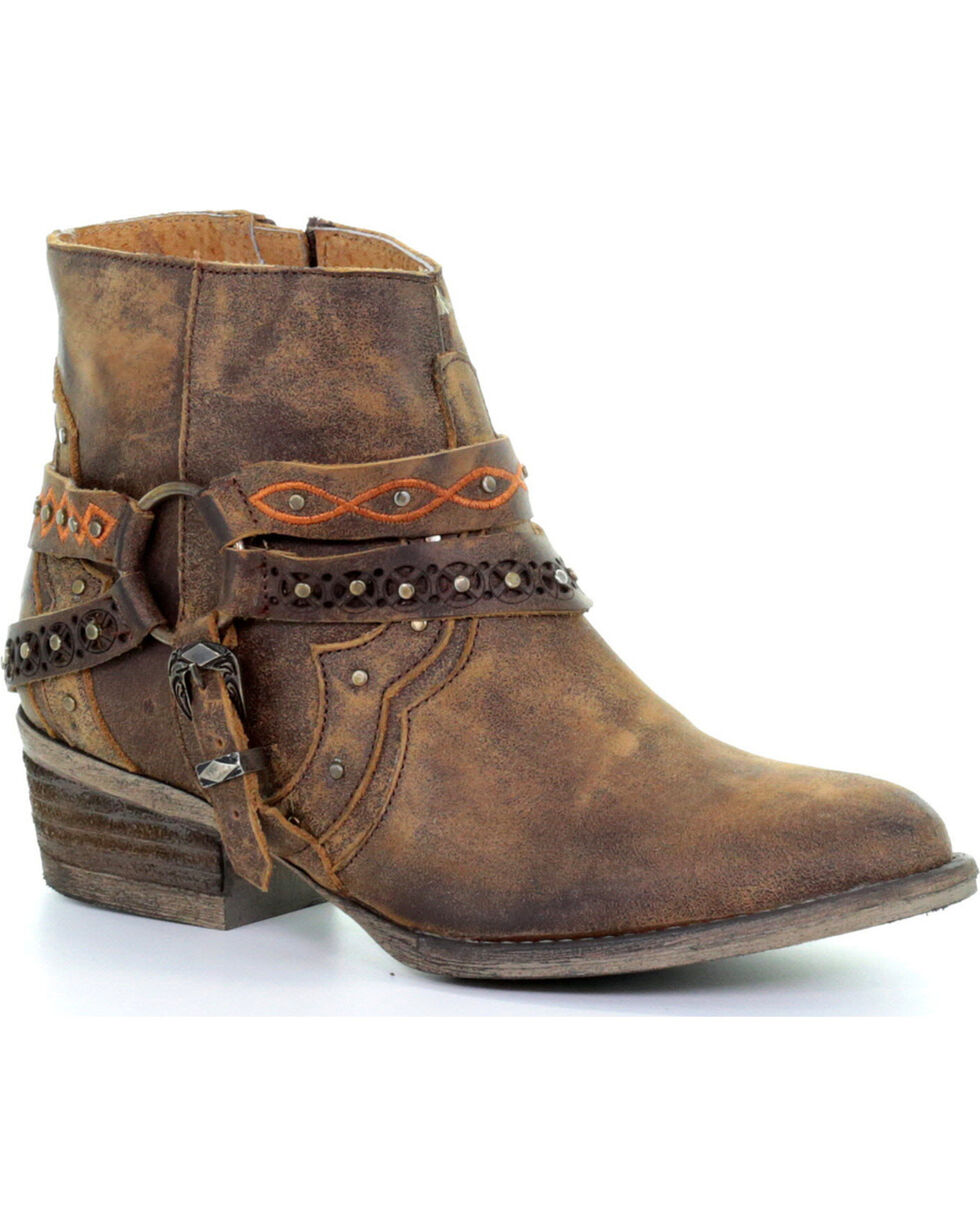 Circle G Women's Brown Studded Harness Ankle Boots - Round Toe, Brown, hi-res