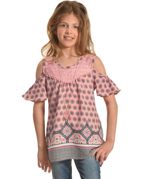 Shyanne Girls' Cold Shoulder Print Top with Necklace, Coral, hi-res
