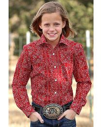 Cruel Girl Girls' Red Paisley Print Western Shirt , , hi-res