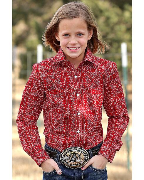 Cruel Girl Girls' Red Paisley Print Western Shirt , Red, hi-res